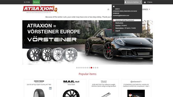 Mini webshop Atraxion Tyrecloud